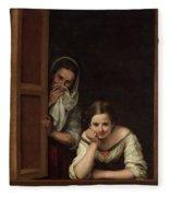 Two Women At A Window Fleece Blanket
