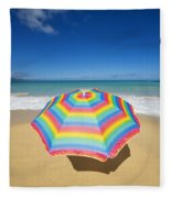 Umbrella On Beach Fleece Blanket