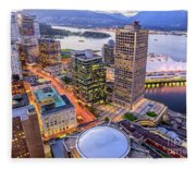 View Of Vancouver At Dusk. Fleece Blanket