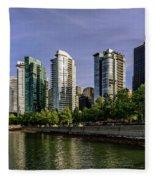 Waterfront Of Vancouver, Canada Fleece Blanket