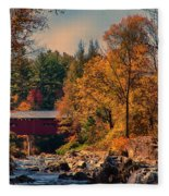 Vermont Covered Bridge Over The Dog River Fleece Blanket