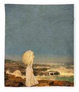 Victorian Lady By The Sea Fleece Blanket