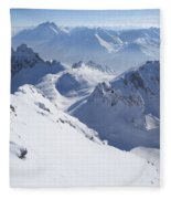 View From Summit Of Valluga, St Saint Anton Am Arlberg Austria Fleece Blanket