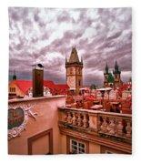 View From The Top In Prague Fleece Blanket