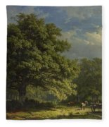 View In The Bentheim Forest, George Andries Roth, 1870 Fleece Blanket
