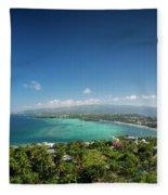 View Of Boracay Island Tropical Coastline In Philippines Fleece Blanket