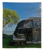 View Of Cerros Maya Ruins At Cerros Fleece Blanket