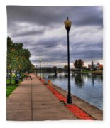 View Of Delaware Bridge At Erie Canal Harbor Fleece Blanket