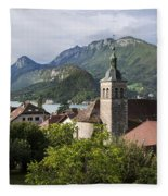 Village Of Talloires On The Banks Of Lake Annecy Fleece Blanket