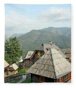 Village On Mountain Rural Landscape Fleece Blanket