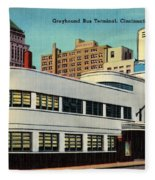 Vintage Cincinnati Postcard Fleece Blanket