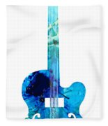 Vintage Guitar 2 - Colorful Abstract Musical Instrument Fleece Blanket