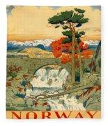 Vintage Poster - Norway Fleece Blanket