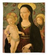 Virgin And Child With An Angel Fleece Blanket