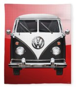 Volkswagen Type 2 - Black And White Volkswagen T 1 Samba Bus On Red  Fleece Blanket