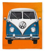 Volkswagen Type 2 - Blue And White Volkswagen T 1 Samba Bus Over Orange Canvas  Fleece Blanket