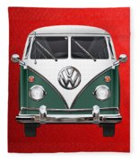 Volkswagen Type 2 - Green And White Volkswagen T 1 Samba Bus Over Red Canvas  Fleece Blanket