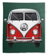 Volkswagen Type 2 - Red And White Volkswagen T 1 Samba Bus Over Green Canvas  Fleece Blanket