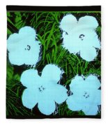 Warhol - Flowers 3 Andy Warhol Fleece Blanket