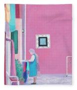 Washing Day, Burano, Venice Fleece Blanket
