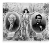 Washington And Lincoln Fleece Blanket