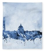Washington Skyline-blue Fleece Blanket