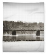 Washingtons Crossing Bridge Fleece Blanket