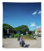 Wat Damnak Roundabout In Central Siem Reap City Cambodia Fleece Blanket