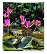 Water Lilies Tam Coc  Fleece Blanket