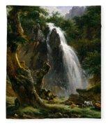 Waterfall At Mont-dore Fleece Blanket