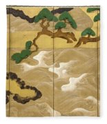 Waves At Matsushima Fleece Blanket