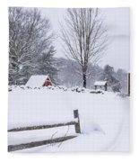 Wayside Inn Grist Mill Covered In Snow Storm Fleece Blanket