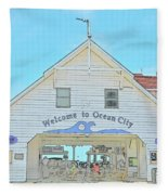 Welcome To Ocean City Fleece Blanket