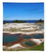 West Thumb Geyser Basin In Yellowstone National Park Fleece Blanket