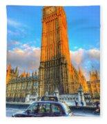 Westminster Bridge And Taxi Fleece Blanket