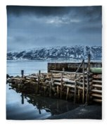 Wharf In Norris Point, Newfoundland Fleece Blanket