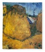 Wheat Stacks In Provence Fleece Blanket