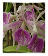 White And Purple Orchids Fleece Blanket