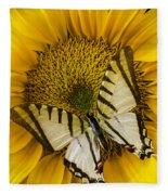 White Butterfly On Sunflower Fleece Blanket