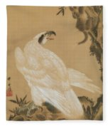 White Eagle Eyeing A Mountain Lion Fleece Blanket