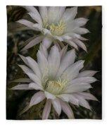 White Echinopsis Fleece Blanket