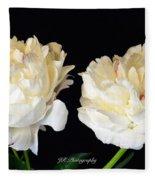 Peonies In Cream Fleece Blanket