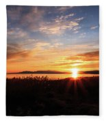 Willard Bay Sunset Fleece Blanket