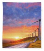 wind turbines in Oiz eolic park Fleece Blanket