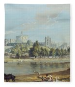 Windsor Castle From The Eton Shore Fleece Blanket