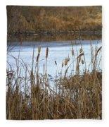 Winter Cattails Fleece Blanket