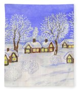 Winter Landscape, Painting Fleece Blanket