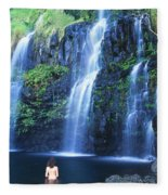 Woman At Waterfall Fleece Blanket