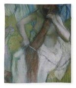Woman Combing Her Hair Fleece Blanket