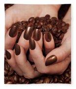 Woman Holding Coffee Beans In Her Hands Fleece Blanket